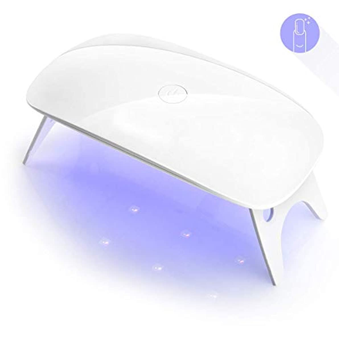 ミニチュアマインドフル足音ZMiw LEDネイルドライヤー UVライト タイマー設定可能 折りたたみ式手足とも使える 人感センサー式 LED 硬化ライト UV と LEDダブルライト ジェルネイル用 ホワイト (white)