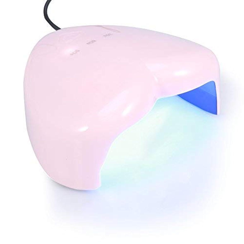 耳無ホイール18W ハート型 UV LEDランプ ネイルドライヤー ネイルポーランドアートツール ネイル用硬化ランプ(ピンク)