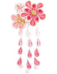 髪飾り つまみ細工 ピンク アイボリー 梅 花 コサージュ 小ぶり フェイクパール スリーピン パッチン留め ぶら飾り 藤下がり 七五三向け ヘアアクセサリー