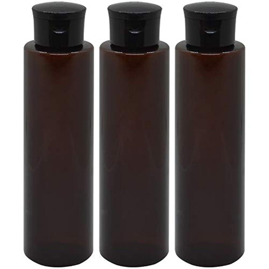 バッグ離れた謎日本製 化粧品詰め替えボトル 茶色 200ml 3本セット ワンタッチキャップペットボトル クリアブラウン