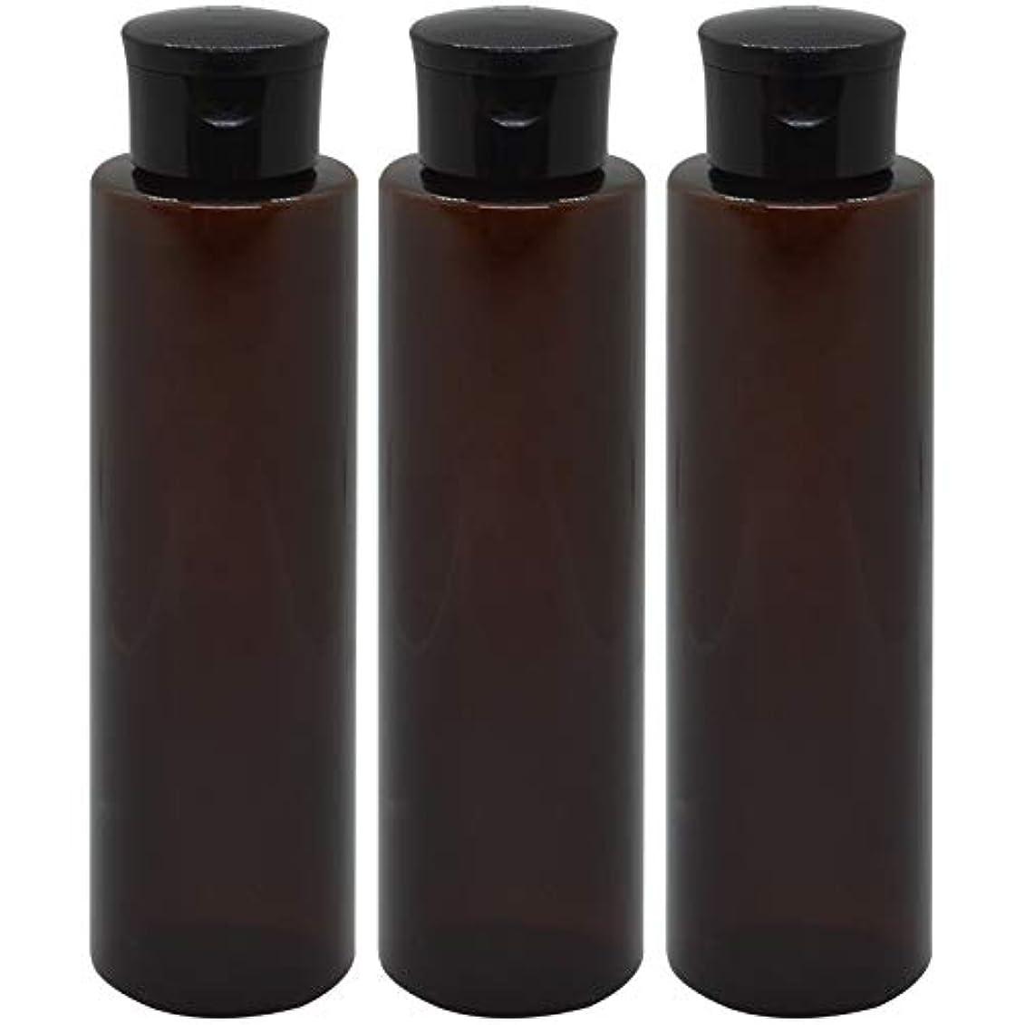 報酬の溶かすマウスピース日本製 化粧品詰め替えボトル 茶色 200ml 3本セット ワンタッチキャップペットボトル クリアブラウン