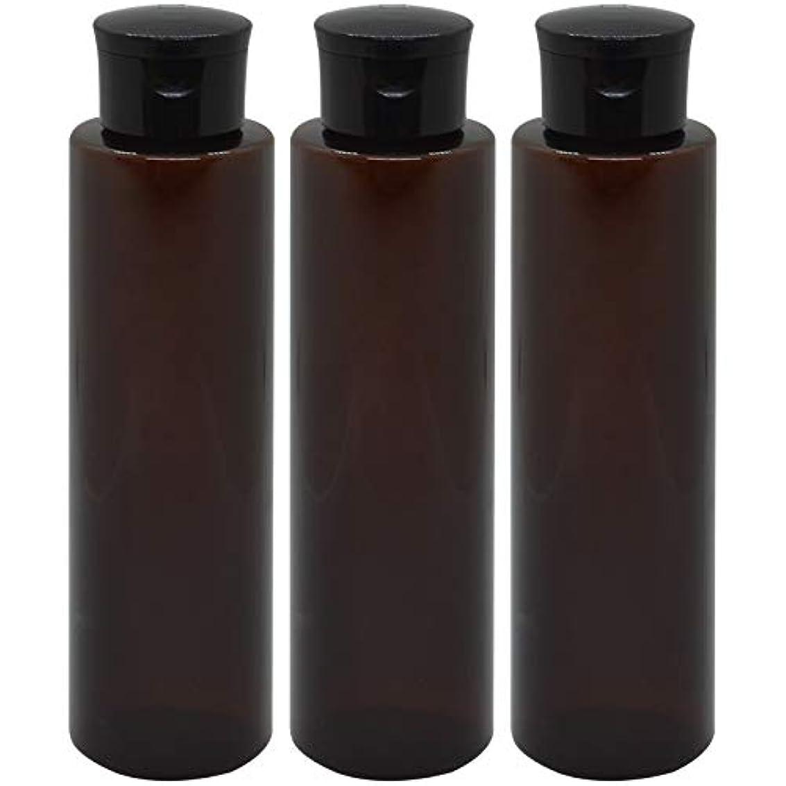 教養がある気になるデジタル日本製 化粧品詰め替えボトル 茶色 200ml 3本セット ワンタッチキャップペットボトル クリアブラウン