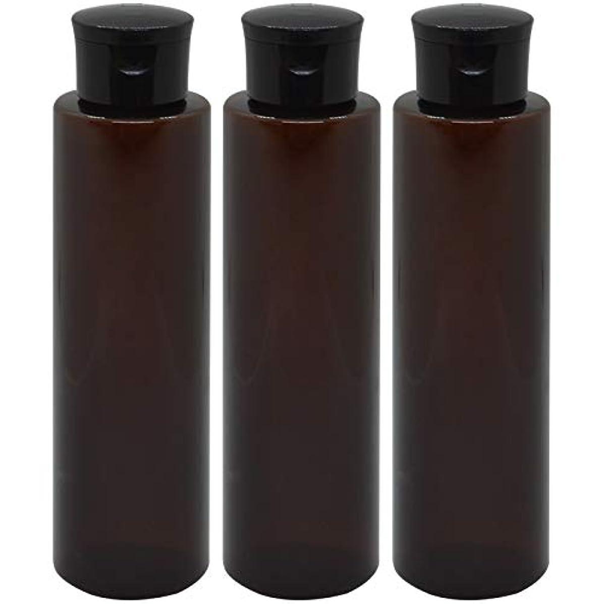 膨らみメダリスト処分した日本製 化粧品詰め替えボトル 茶色 200ml 3本セット ワンタッチキャップペットボトル クリアブラウン