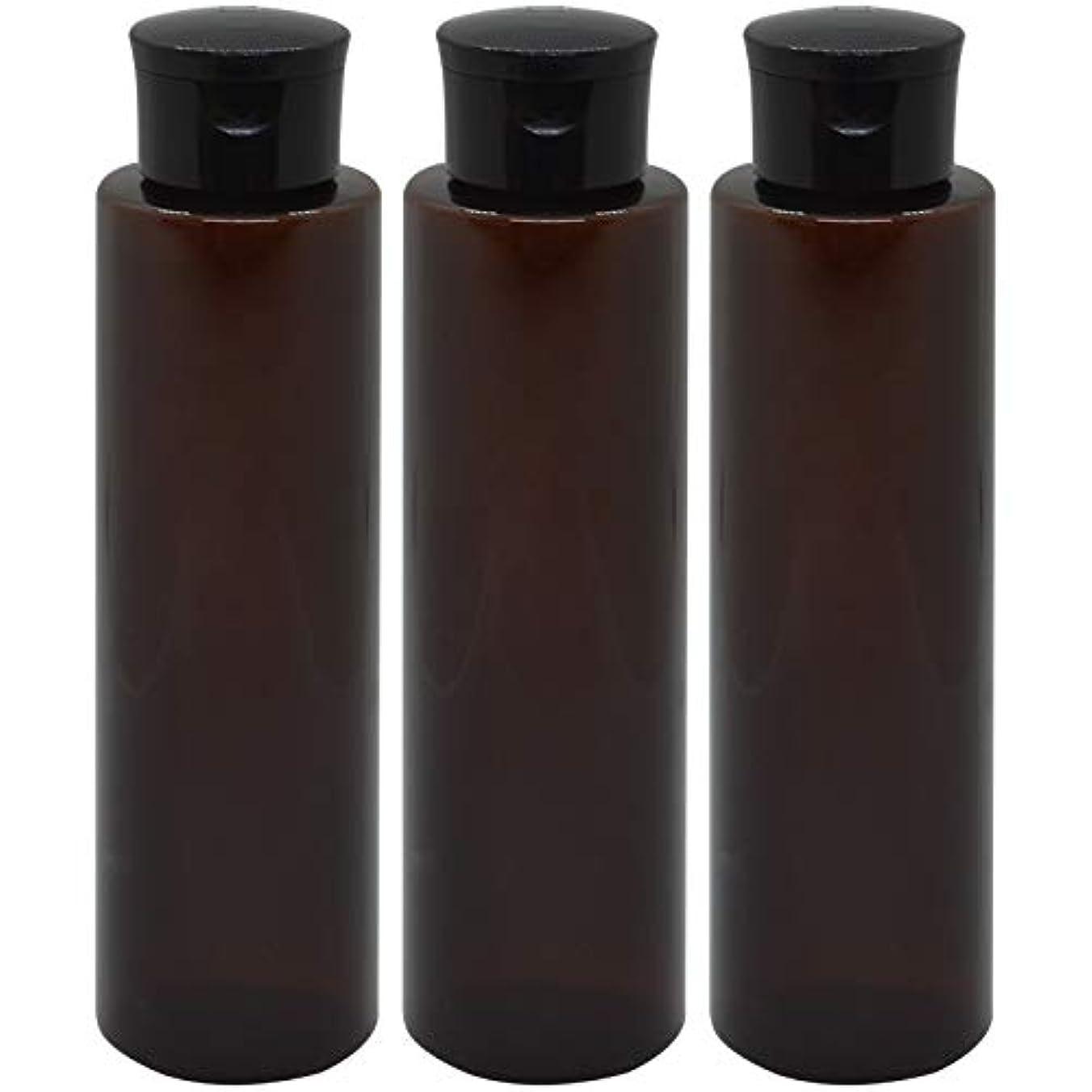 参照するレザー朝日本製 化粧品詰め替えボトル 茶色 200ml 3本セット ワンタッチキャップペットボトル クリアブラウン