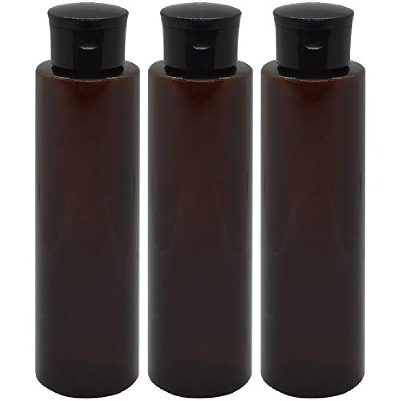 禁じる出くわす隣人日本製 化粧品詰め替えボトル 茶色 200ml 3本セット ワンタッチキャップペットボトル クリアブラウン