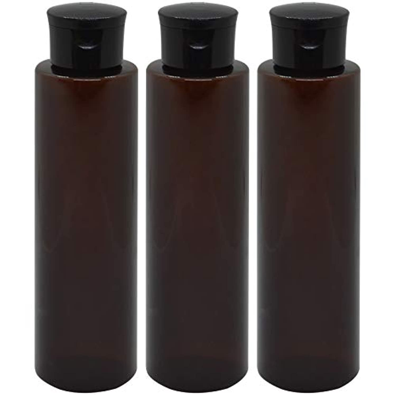 シャッフル表向き補助金日本製 化粧品詰め替えボトル 茶色 200ml 3本セット ワンタッチキャップペットボトル クリアブラウン