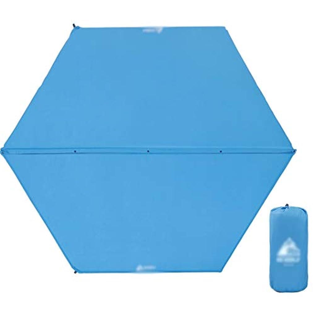 テニスクラッシュ天十分に自己膨脹するキャンプマットの六角形の膨脹可能な寝台の肥厚の快適なテントマット5-8人、248x208x2.5cmブルー