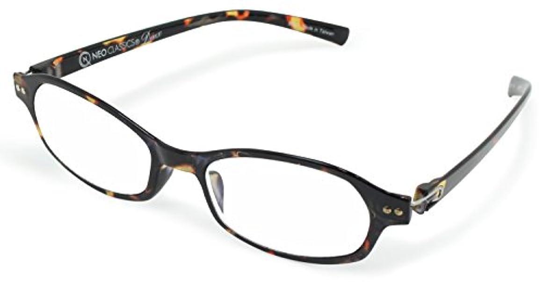 穀物あごひげ落ち着くデューク 老眼鏡 レディース +3.0 度数 ネオクラシックデュー 超軽量フレーム ソフトケース付き ブラウンデミ GLR-11-8+3.00
