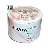 600Ritek Ridata 8X DVD - R 4.7GBホワイトインクジェット印刷可能なハブ