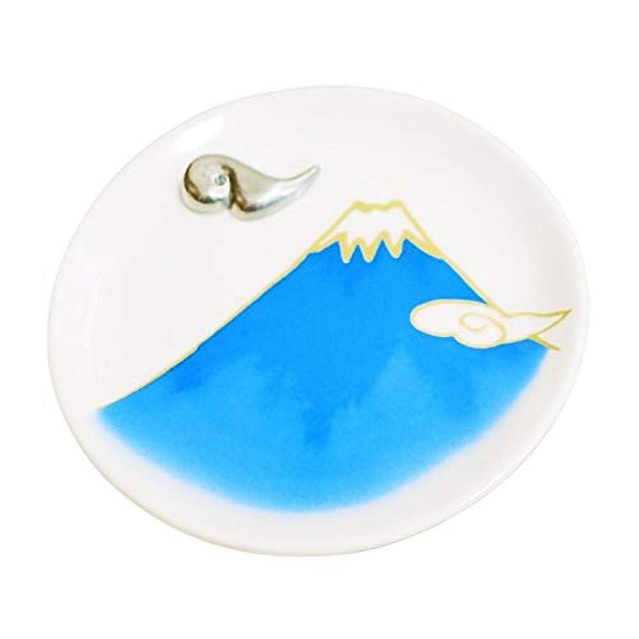 三角慣性承認する香皿 富士山 ブルー 雲型香立て付 青富士 香立 お線香立て Cセット