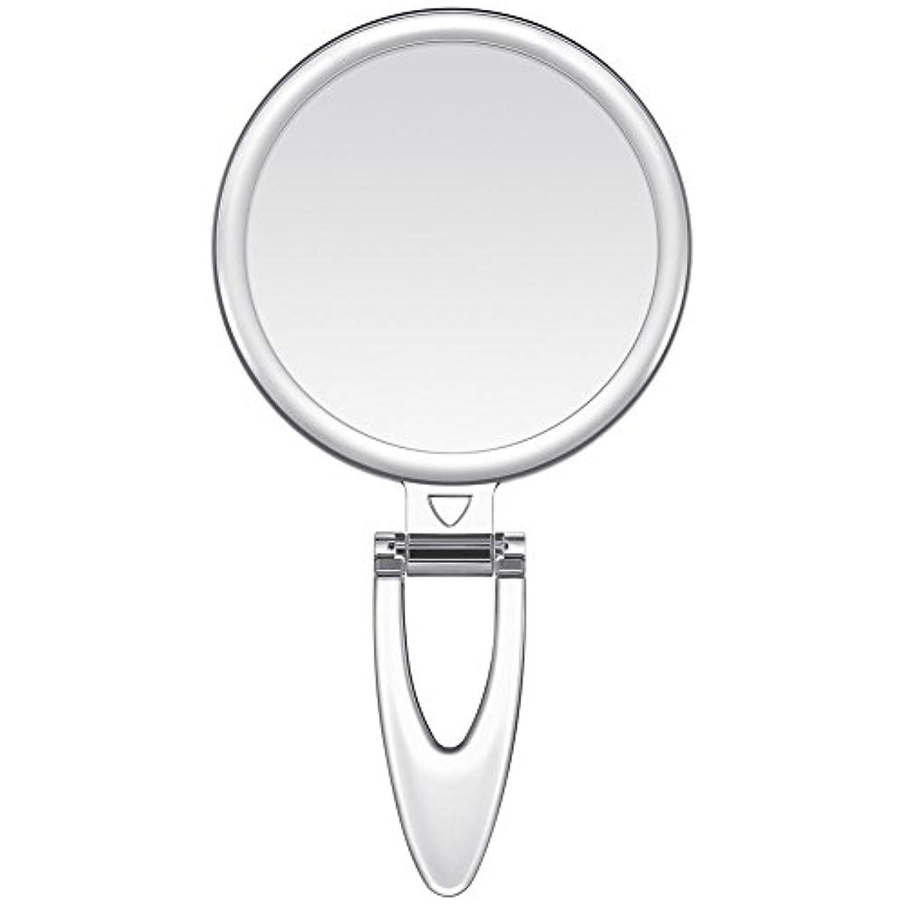 天使持参忘れるLavany 手鏡 鏡 拡大鏡 両面コンパクトミラー 化粧鏡 10倍鏡付き 手持ち スタンド 壁掛け仕様 (S(3.2インチ))