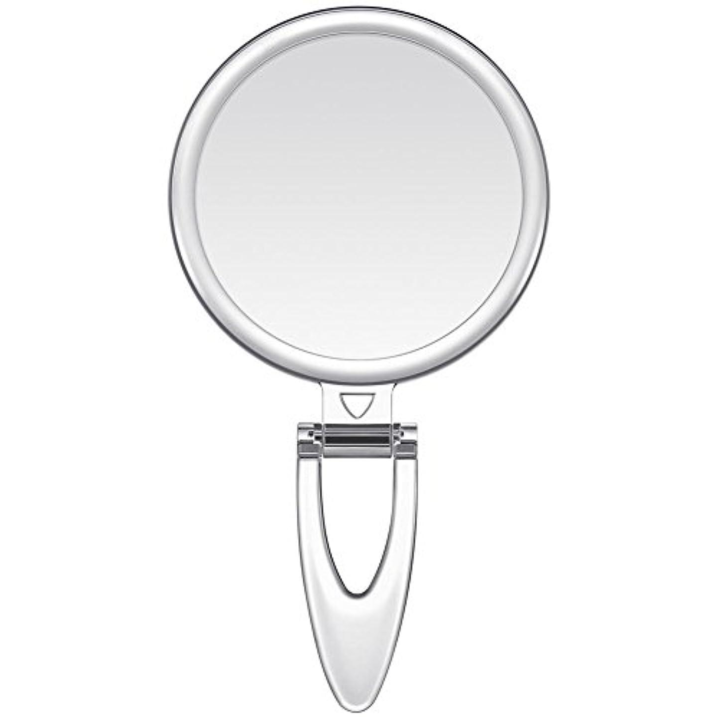 感心する季節香港Lavany 手鏡 鏡 拡大鏡 両面コンパクトミラー 化粧鏡 10倍鏡付き 手持ち スタンド 壁掛け仕様 (S(3.2インチ))