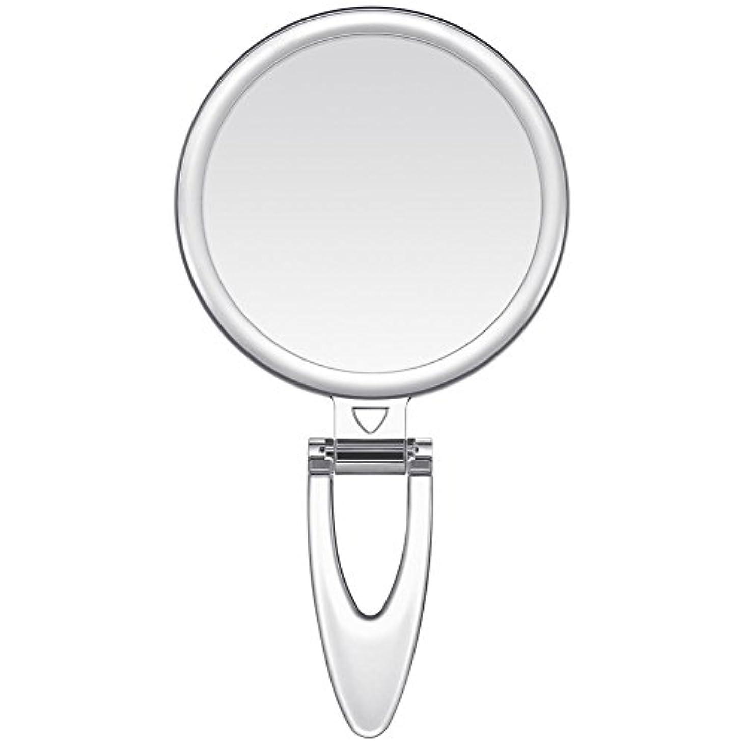 スリット捕虜再集計Lavany 手鏡 鏡 拡大鏡 両面コンパクトミラー 化粧鏡 10倍鏡付き 手持ち スタンド 壁掛け仕様 (S(3.2インチ))