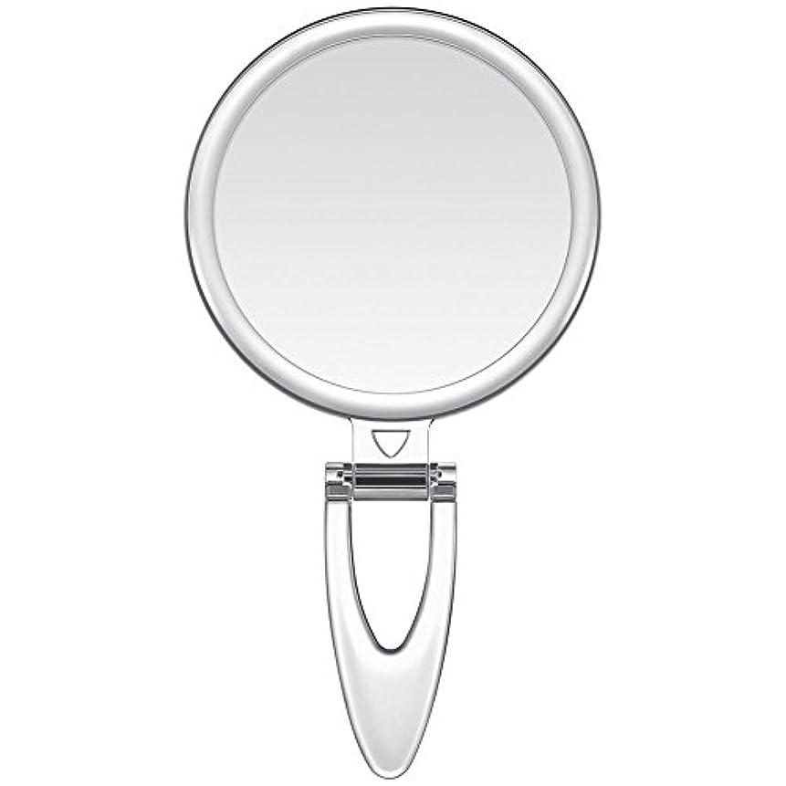 革命税金ロッジLavany 手鏡 鏡 拡大鏡 両面コンパクトミラー 化粧鏡 10倍鏡付き 手持ち スタンド 壁掛け仕様 (S(3.2インチ))