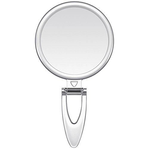 手鏡 鏡 拡大鏡 両面コンパクトミラー 化粧鏡 10倍鏡付き 手持ち スタンド 壁掛け仕様 (S(3.2インチ))