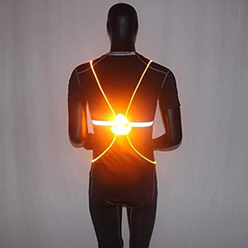 コミット一人で制限wangten 反射安全ベスト LEDスポーツベスト サイクリングベスト LEDランニングベスト LEDライトベスト LEDファイバーライトナイト 反射ストラップ 調整可能 軽量 男性 女性