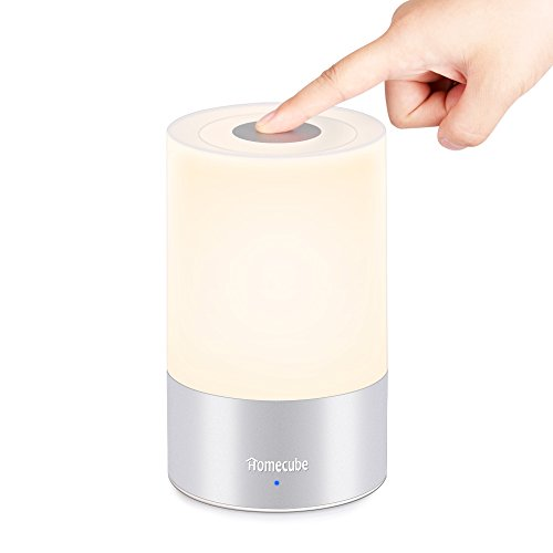 HOMECUBE テーブルランプ 3段階調光 ベッドサイドライト 室内センサーライト 常夜灯 卓上スタンドライト USB充電 タッチセンサー式 シェードランプ 七色変換 停電対策