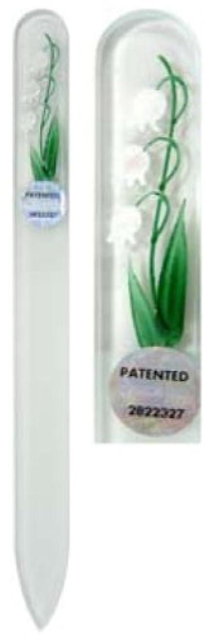 ゴムくつろぐエレメンタルBlazek(ブラジェク) ガラス製爪やすり ハンドペイントMサイズ 140mm チェコ製 すずらん