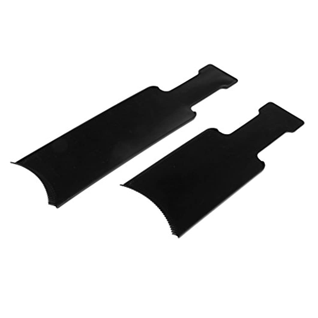 ボックストリップ前投薬ヘアカラーボード 染色櫛 染色プレート ヘアカラー プラスチック製 美容ツール 黒 2個入
