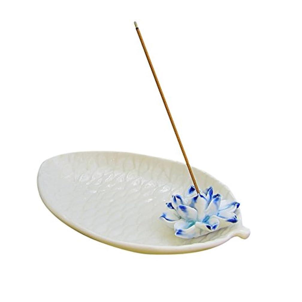 放射する開始小包djiale Incense Stick Holderセラミック香炉with Ashキャッチャー Lotus ホワイト DjialeBurner05