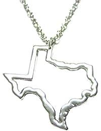 Silver Toned Texas Stateマップアウトラインペンダントネックレス