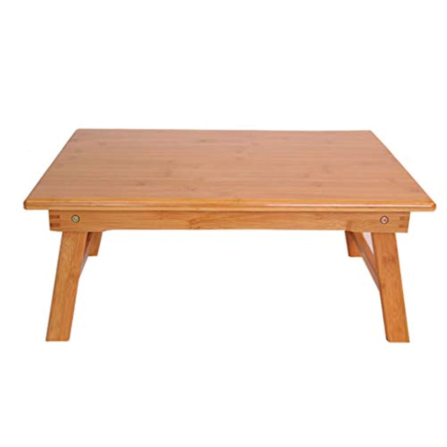ステレオ品種アンティークNJ 折りたたみ式テーブル- 竹折り畳みラップトップデスク、家庭用寮コンピュータデスクスタディテーブル (色 : 木の色, サイズ さいず : 60x40x25cm)