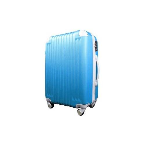 スーツケース/キャリーバッグ 【Mサイズ/中型4~6日】 TSA搭載 軽量 ファスナー ブルー(青)×ホワイト(白)