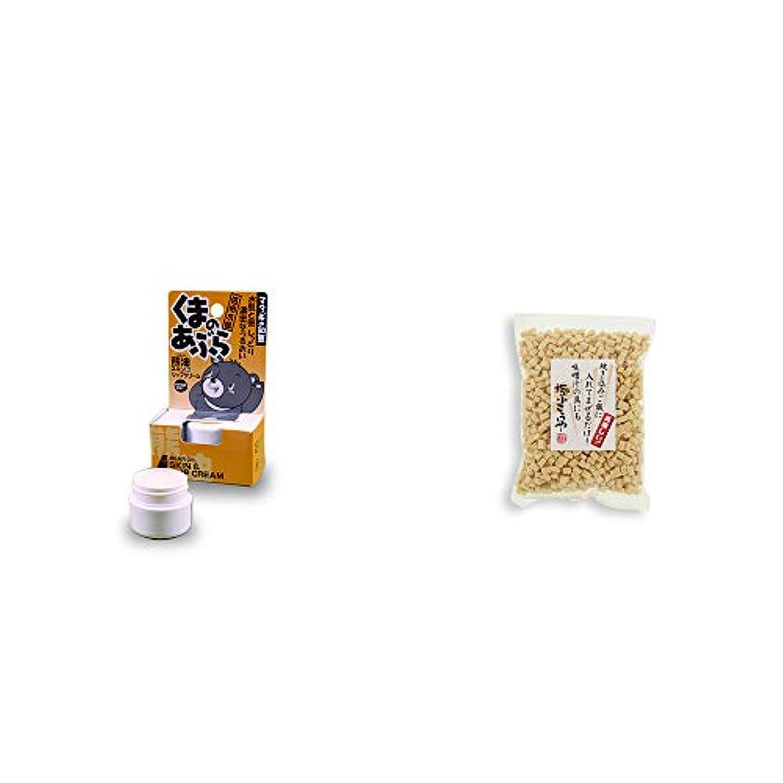 ストライプビスケット花[2点セット] 信州木曽 くまのあぶら 熊油スキン&リップクリーム(9g)?極小こうや(100g)