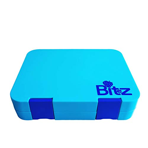 DEj KidS Bitez Bento Lunch Box - Leakproof & Mold Proof with 6 compartments & Dishwasher Safe Inner Trays (Turquoise Blue)