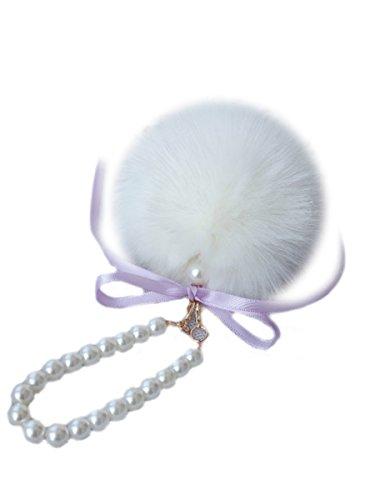 [해외]퍼 펑펑 매력 가방 귀여운 봉봉 진주 가방 가방 액세스 털이 열쇠 고리 리본 (프리 사이즈 브라운)/Fur Pompon Charm Bag Cute Bonbon Pearl Bag Bag Access Fluffy Key Ring Ribbon (Free Size~ Brown)