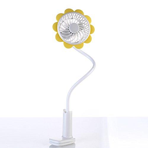 携帯扇風機 USB扇風機 クリップ式 ベビーカー扇風機 向日葵 卓上 電池付 360度調節ネック Liang(イエロー) …