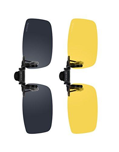 Woolikeクリップサングラス UV400 紫外線カット 野球/自転車/釣り/ランニング/ゴルフ/ドライブ/運転 男女兼用 変色調光偏光グラス (56*33mm)