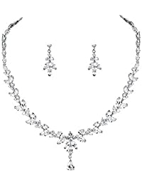 WeimanJewelry Silver Plated Women Cubic Zirconia Round CZ Marquise Teardrop Bridal Necklace and Drop Earring Set for Bride Wedding