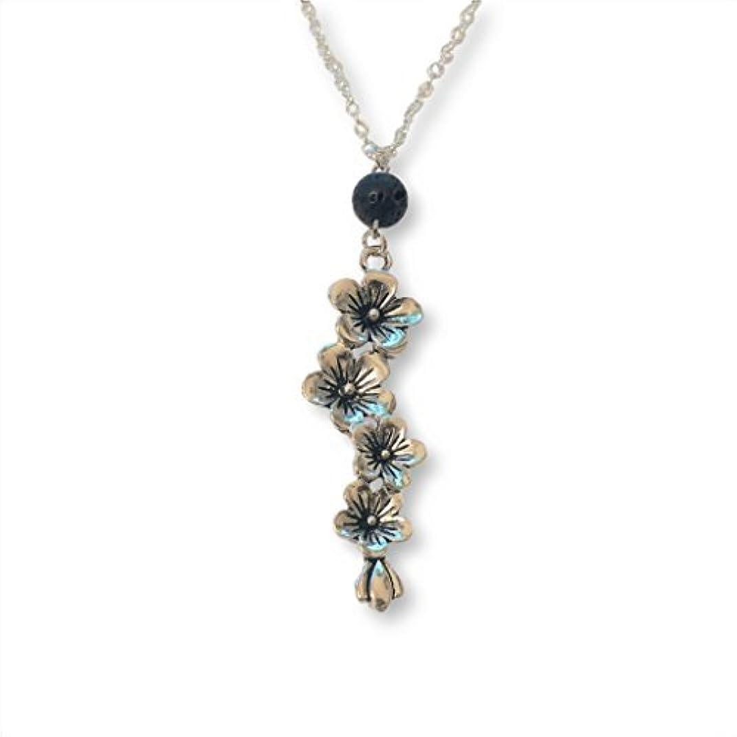 バーター観点サミットPlum and Cherry Blossom Flower Aromatherapy Necklace Essential Oil Diffuser Lava Stone Pendant Jewelry [並行輸入品]