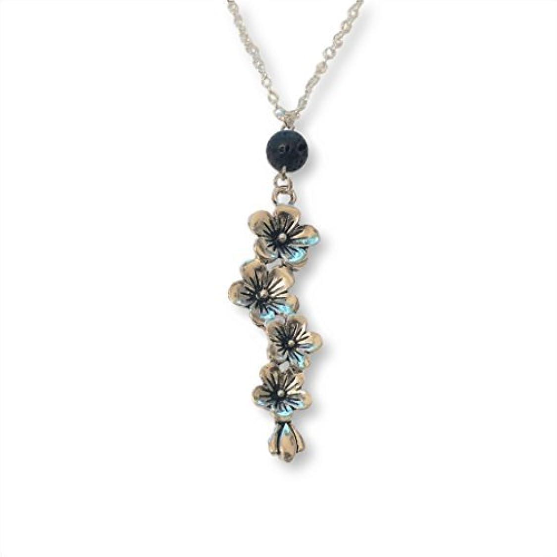 れるベスビオ山チャネルPlum and Cherry Blossom Flower Aromatherapy Necklace Essential Oil Diffuser Lava Stone Pendant Jewelry [並行輸入品]