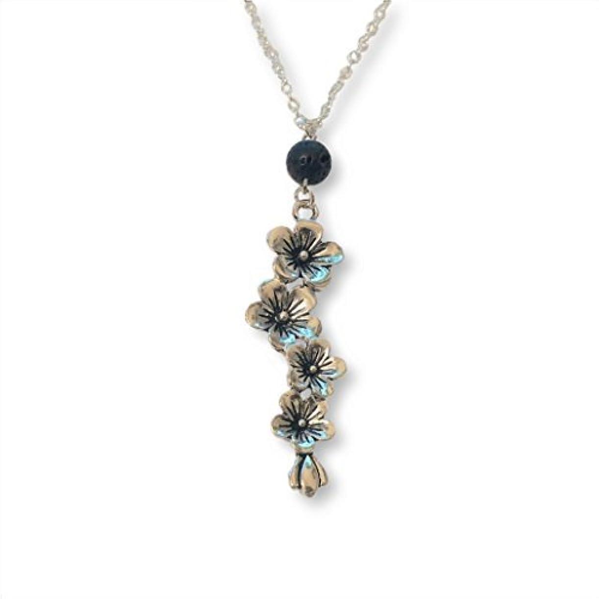 そうでなければビルマ避難Plum and Cherry Blossom Flower Aromatherapy Necklace Essential Oil Diffuser Lava Stone Pendant Jewelry [並行輸入品]