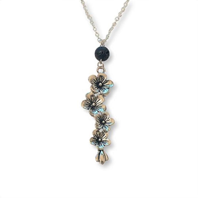 隣人植物学加速するPlum and Cherry Blossom Flower Aromatherapy Necklace Essential Oil Diffuser Lava Stone Pendant Jewelry [並行輸入品]