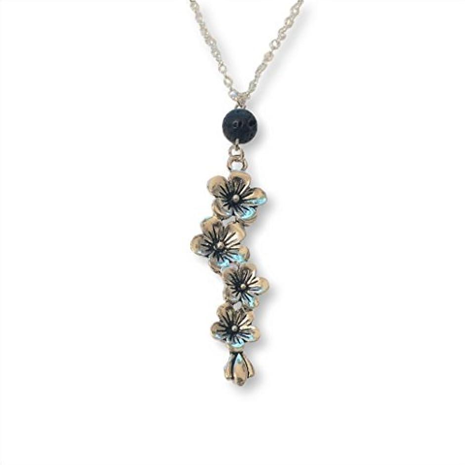 露骨な協力的開梱Plum and Cherry Blossom Flower Aromatherapy Necklace Essential Oil Diffuser Lava Stone Pendant Jewelry [並行輸入品]