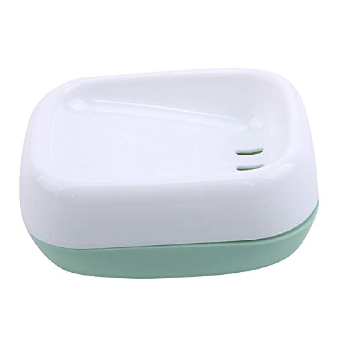 地殻時折ファブリックZALINGソープディッシュボックス浴室プラスチック二重層衛生的なシンプル排水コンテナソープディッシュグリーン