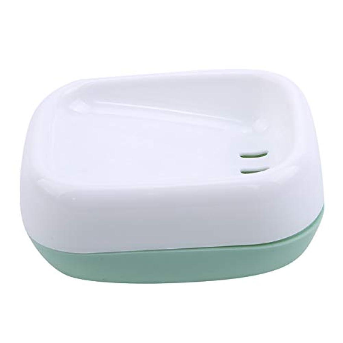 殉教者二十アレルギーZALINGソープディッシュボックス浴室プラスチック二重層衛生的なシンプル排水コンテナソープディッシュグリーン