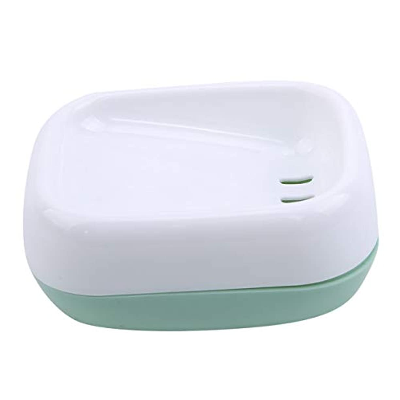 微妙アプト飼料ZALINGソープディッシュボックス浴室プラスチック二重層衛生的なシンプル排水コンテナソープディッシュグリーン