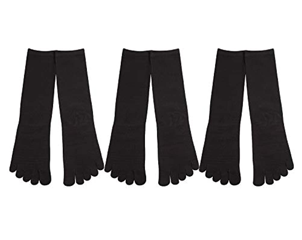 ローン悪性腫瘍ボトルDeol(デオル) 5本指 靴下 男性用 黒 3足セット 25cm-27cm メンズ [足のニオイ対策] 長時間消臭 日本製 靴下