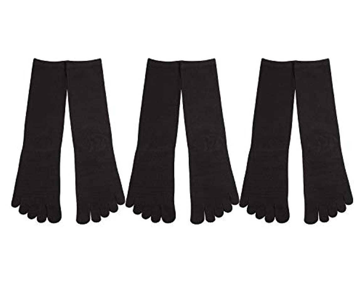 Deol(デオル) 5本指 靴下 男性用 黒 3足セット 25cm-27cm メンズ [足のニオイ対策] 長時間消臭 日本製 靴下