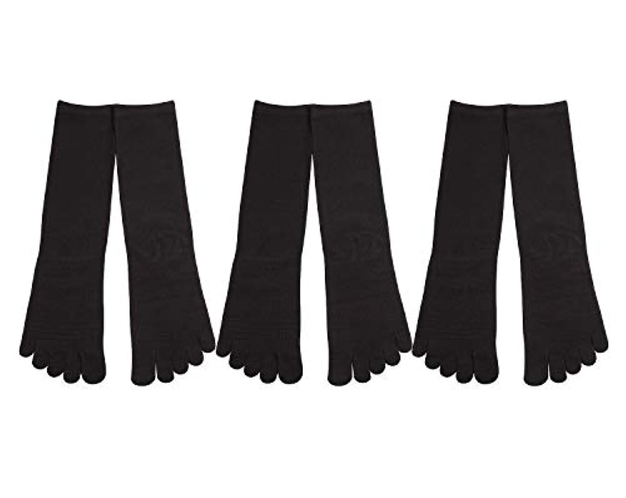 恐ろしい論理的盗難Deol(デオル) 5本指 靴下 男性用 黒 3足セット 25cm-27cm メンズ [足のニオイ対策] 長時間消臭 日本製 靴下