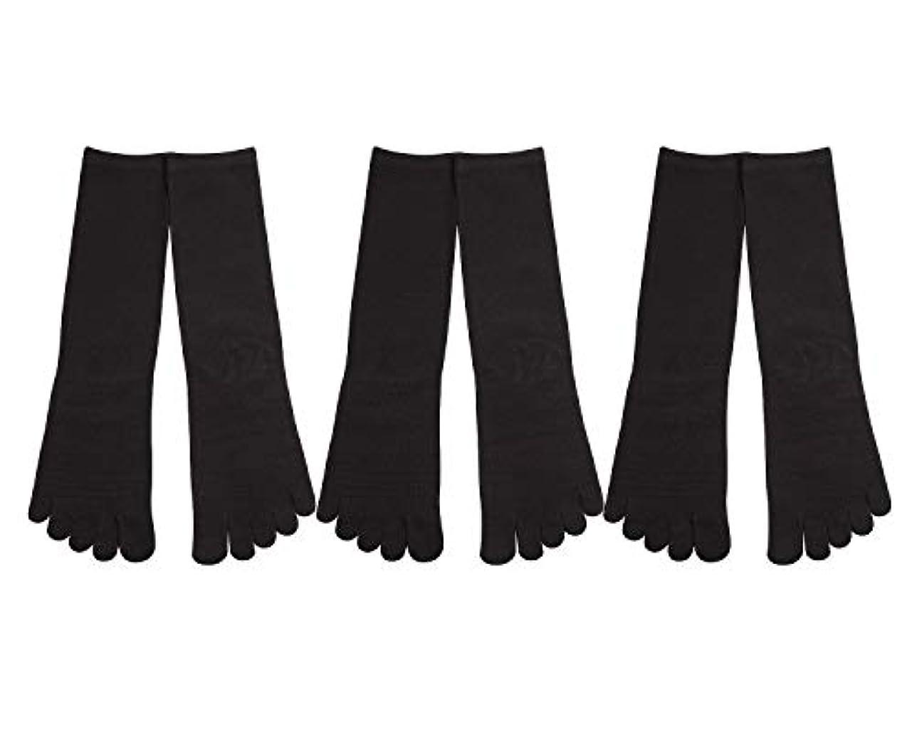 ロック解除石ジェットDeol(デオル) 5本指 靴下 男性用 黒 3足セット 25cm-27cm メンズ [足のニオイ対策] 長時間消臭 日本製 靴下
