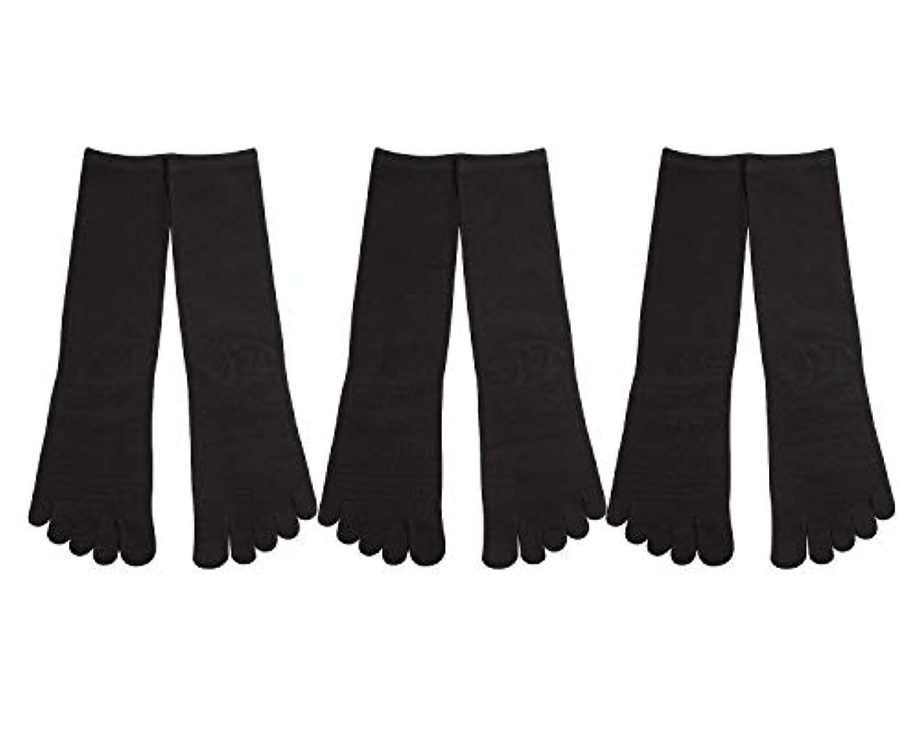 モルヒネ想起無駄だDeol(デオル) 5本指 靴下 男性用 黒 3足セット 25cm-27cm メンズ [足のニオイ対策] 長時間消臭 日本製 靴下