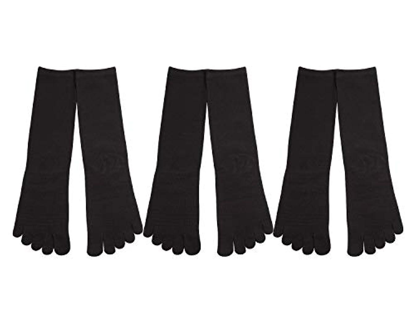 どきどき残忍な解釈的Deol(デオル) 5本指 靴下 男性用 黒 3足セット 25cm-27cm メンズ [足のニオイ対策] 長時間消臭 日本製 靴下