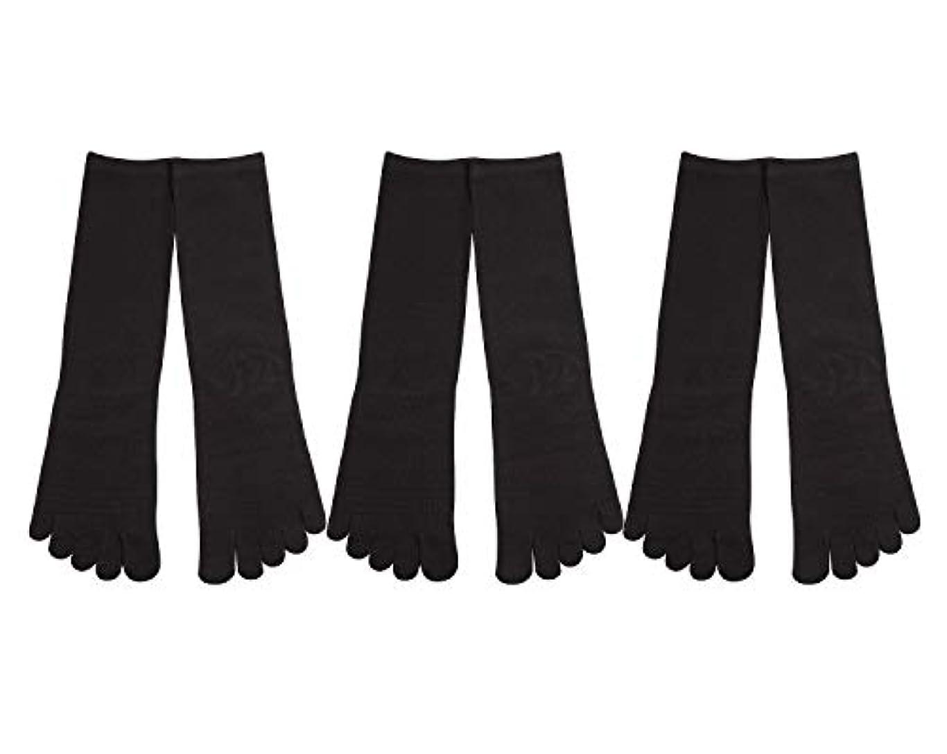 驚くべきタイト画像Deol(デオル) 5本指 靴下 男性用 黒 3足セット 25cm-27cm メンズ [足のニオイ対策] 長時間消臭 日本製 靴下
