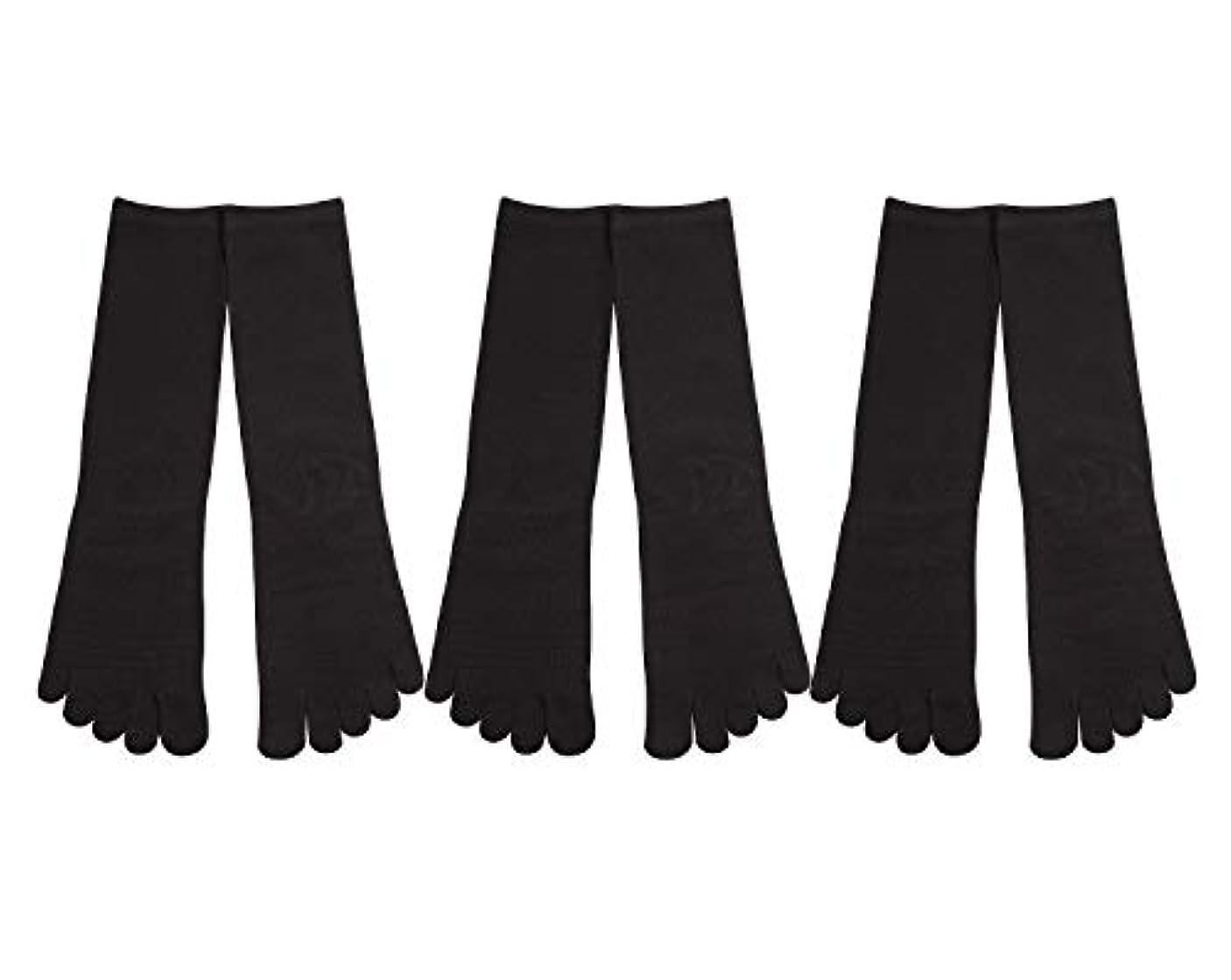 組み合わせフィードバックアナニバーDeol(デオル) 5本指 靴下 男性用 黒 3足セット 25cm-27cm メンズ [足のニオイ対策] 長時間消臭 日本製 靴下