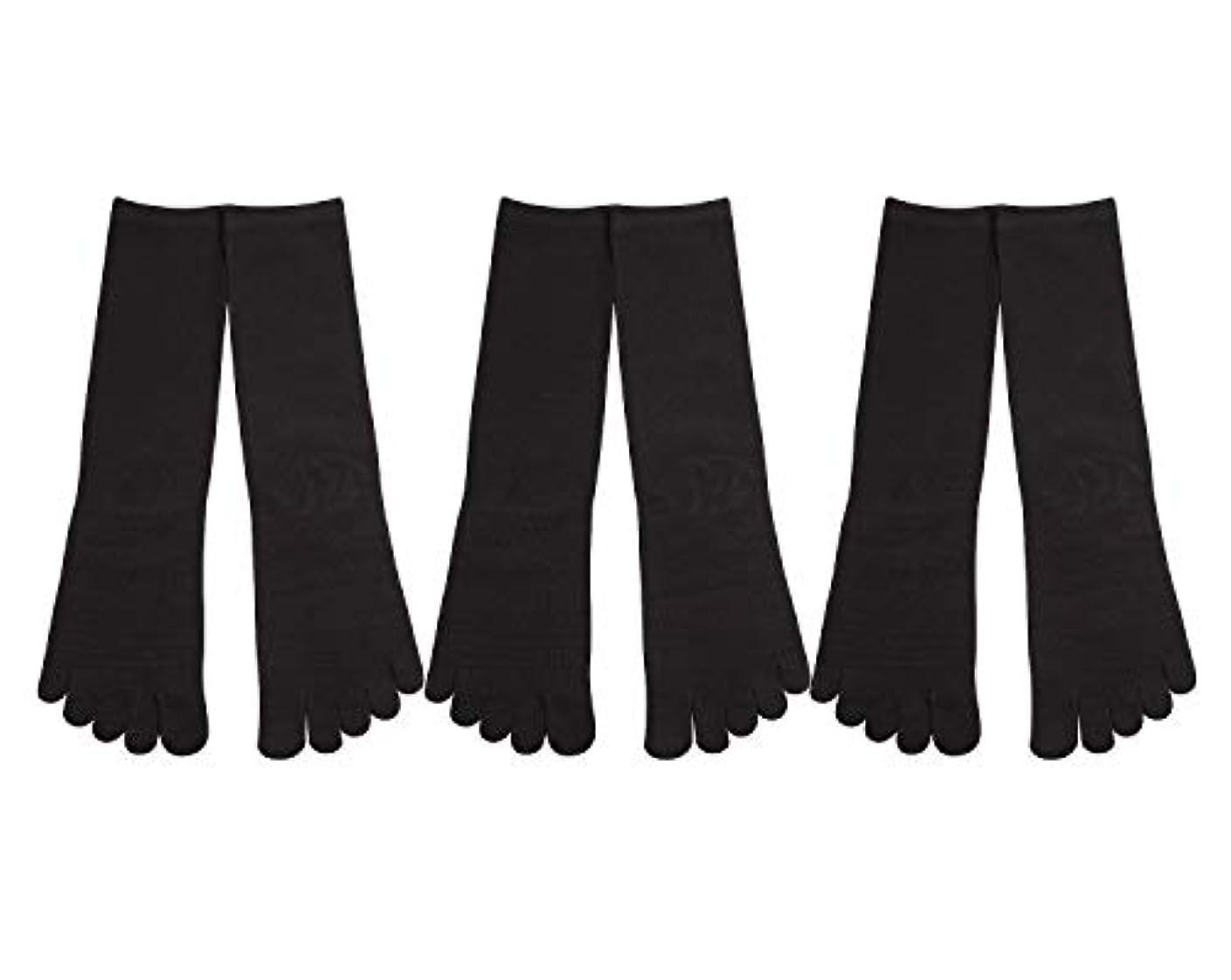 姉妹瞑想するタイルDeol(デオル) 5本指 靴下 男性用 黒 3足セット 25cm-27cm メンズ [足のニオイ対策] 長時間消臭 日本製 靴下